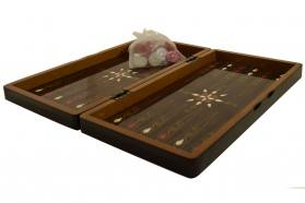 BACKGAMMON-CHESS WALNUT FLOWER