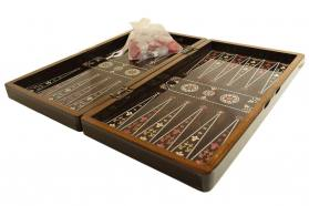 BACKGAMMON-CHESS WALNUT FLAME